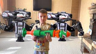 Нерф базука против роботов Дронов