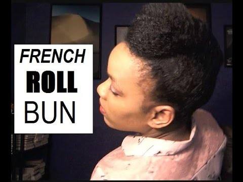 French Roll Bun W Stuffing On Fine Natural Hair Easy