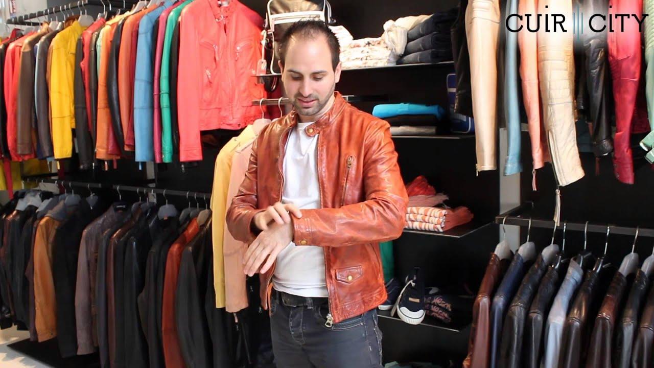 Blouson cuir orange homme