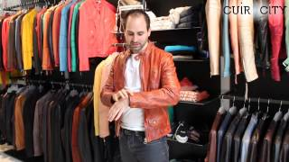 Blouson Cuir Orange Brique Homme Scotch & Soda En Video