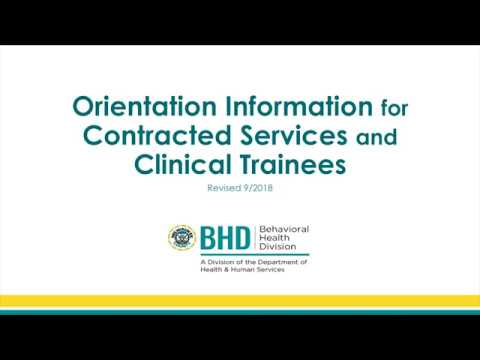 Orientation Information for Contracted Services and Clinical Trainees