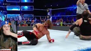 WWE Smackdown 4/25/17 AJ Styles vs Baron Corbin