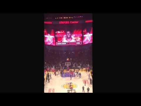 Rockets intro in Dwight Howard's return to Los Angeles. Rockets vs Lakers 2/19/14