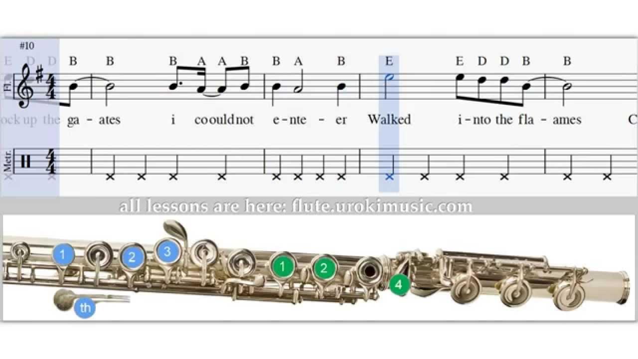 Western flute sheet music fingering notes lesson tutorial youtube