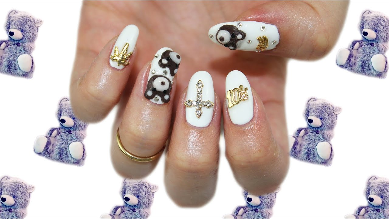 KKN recreates No.4: Miley Cyrus Inspired Teddy Bear Nails - YouTube