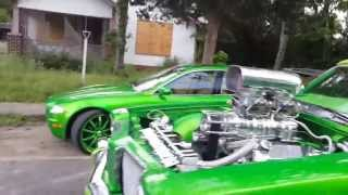 "Candy Green Delta 88 on 30''s supercharged 1004hp maserati 22"" and infinti 28"""