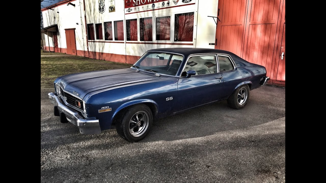 All Chevy 1973 chevy nova : 1973-Chevy-Nova-Coupé-Hatchback-V8-350-blau-V8-Sound - YouTube