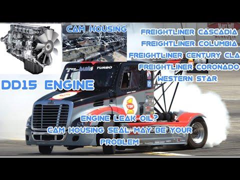 Freightliner Cascadia DD15 engine oil leak cam housing oil leak