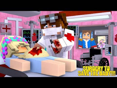 Minecraft PREGNANT LITTLE LEAH HAS SURGERY TO SAVE THE BABY'S LIFE!!!w/ LITTLE DONNY
