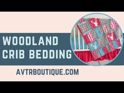 Woodland Baby Girl Crib Bedding And Quilts With Deer Head Silhouette Appliques