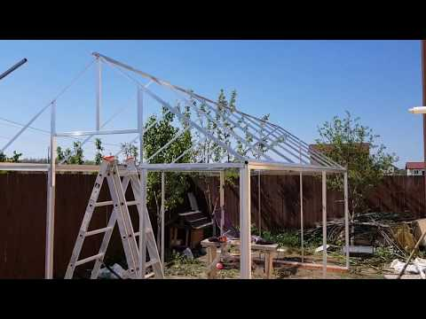 Aluminium frame DIY hobby greenhouse with policarbonate panels