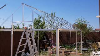 Aluminium frame DIY hobby greenhouse with policarbonate panels