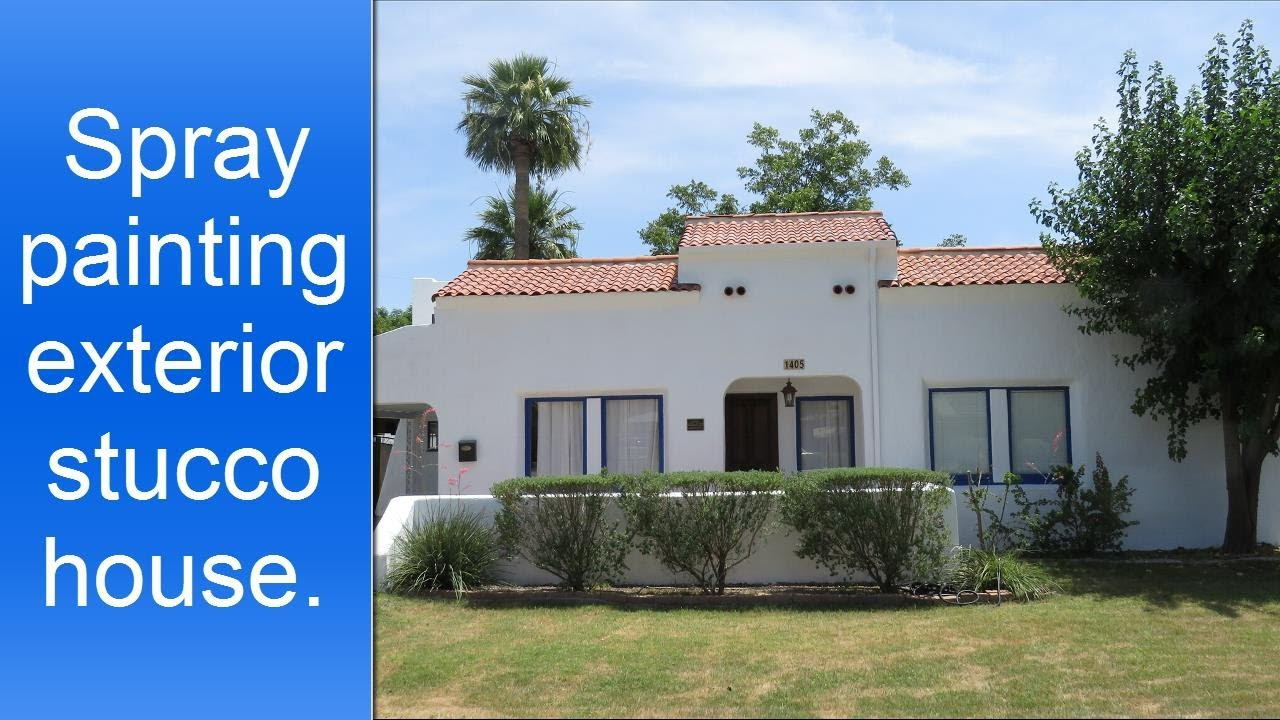 Exterior spray painting of stucco house. - YouTube