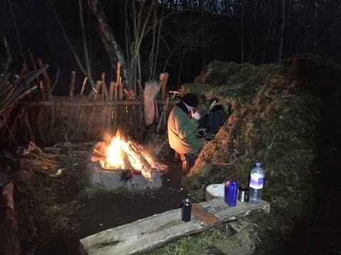 2 NIGHTS DEBRIS SHELTER CAMP NEW SHELTER FLOOR AND SPIT ROAST FEAST