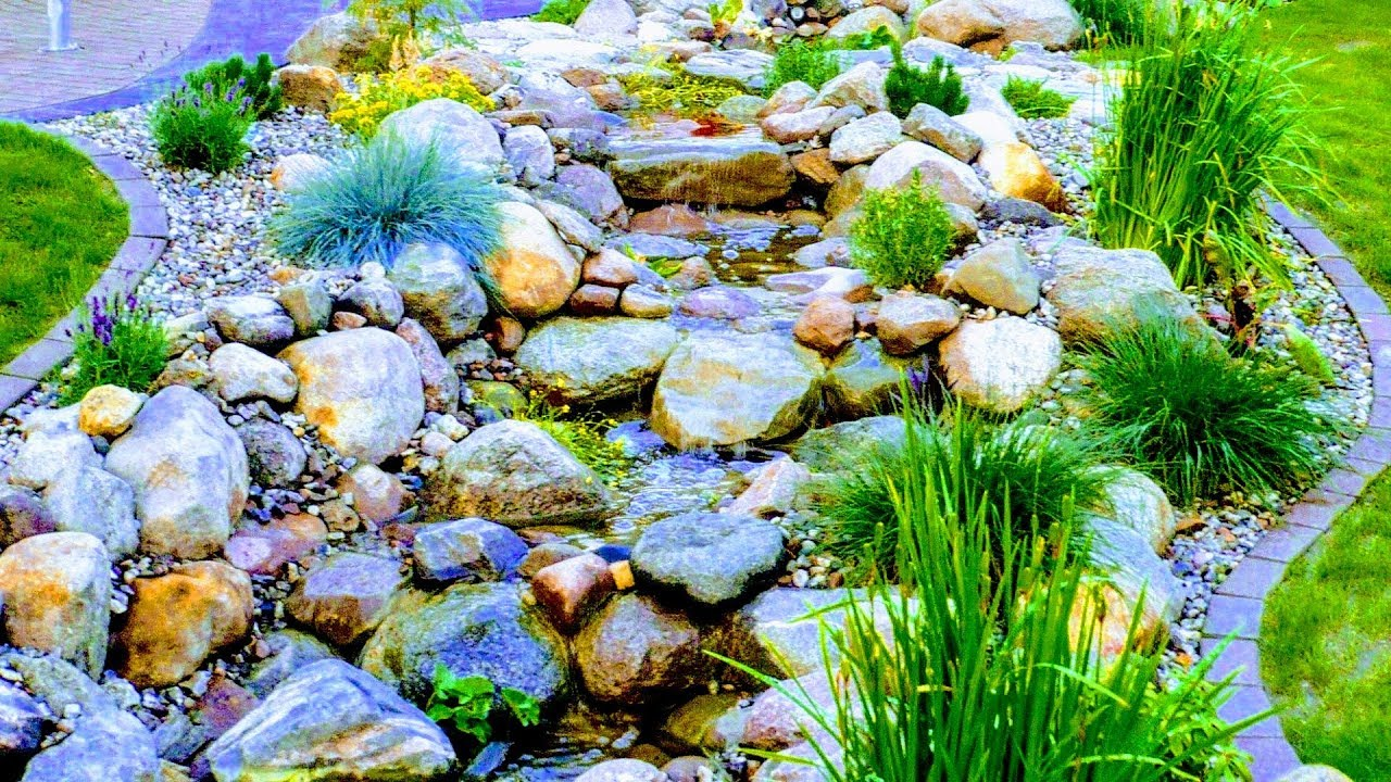 HOW TO BUILD NATURAL GARDEN STREAM WITH WATERFALLLIGHTCROSS PATH