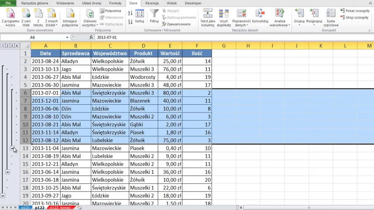 Excel Grupowanie Wierszy I Kolumn Porada 122