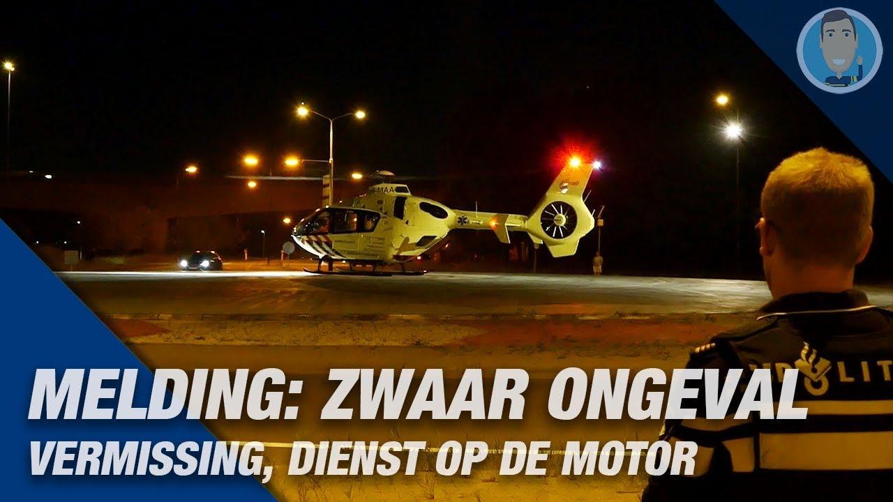TRAUMAHELIKOPTER komt ter plaatse bij een zware aanrijding. Politievlogger Jan-Willem op de motor.