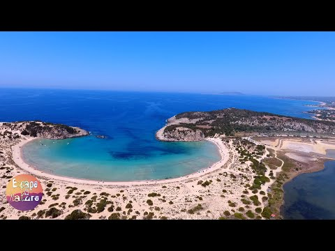 Tropical beaches # Voidokilia beach & Gialova lagoon, Greece # Aerial drone view.