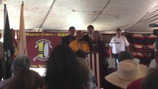 Navajo Code Talker Bill Toledo singing the Marine Corps Hymn in Navajo language (USMC) 2015