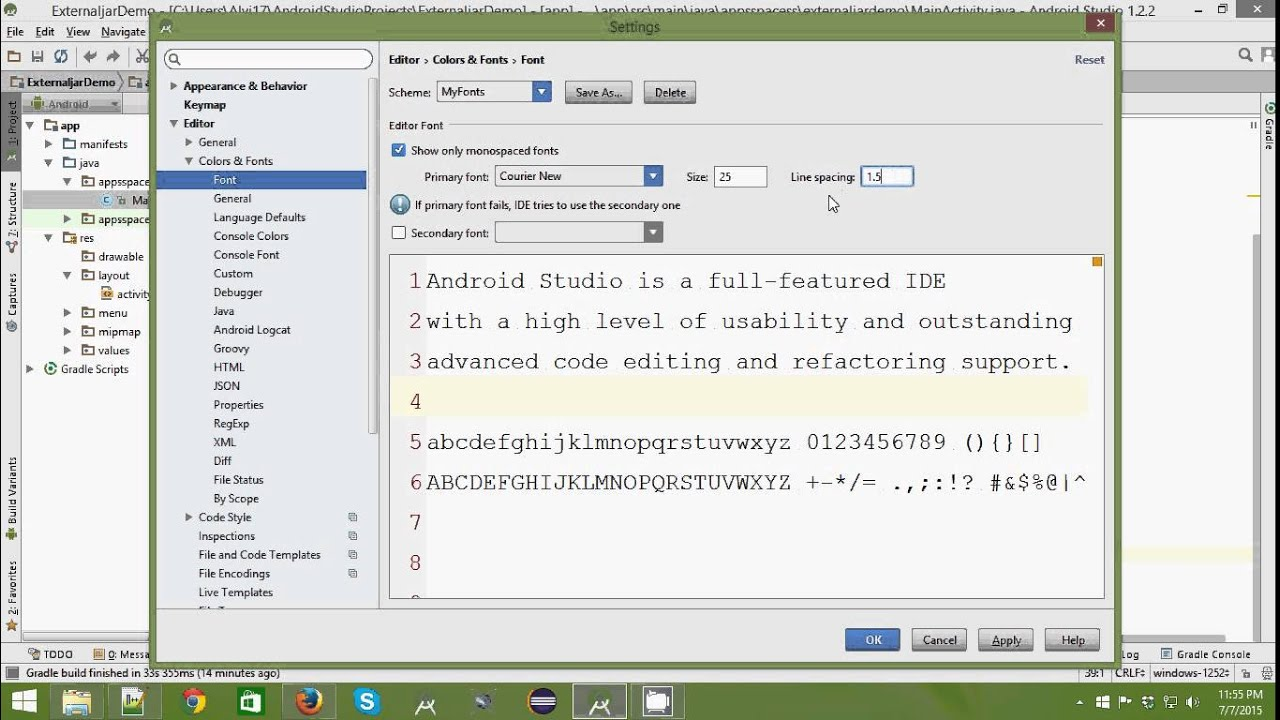 how to change text size android studio