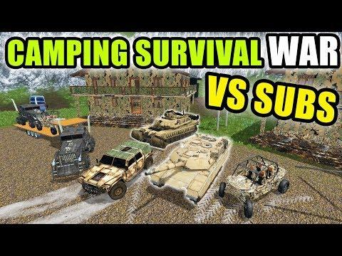 SURVIVAL CAMPING WAR! SQUAD VS SUBSCRIBERS! | LIVE STREAM | FARMING SIMULATOR 2017