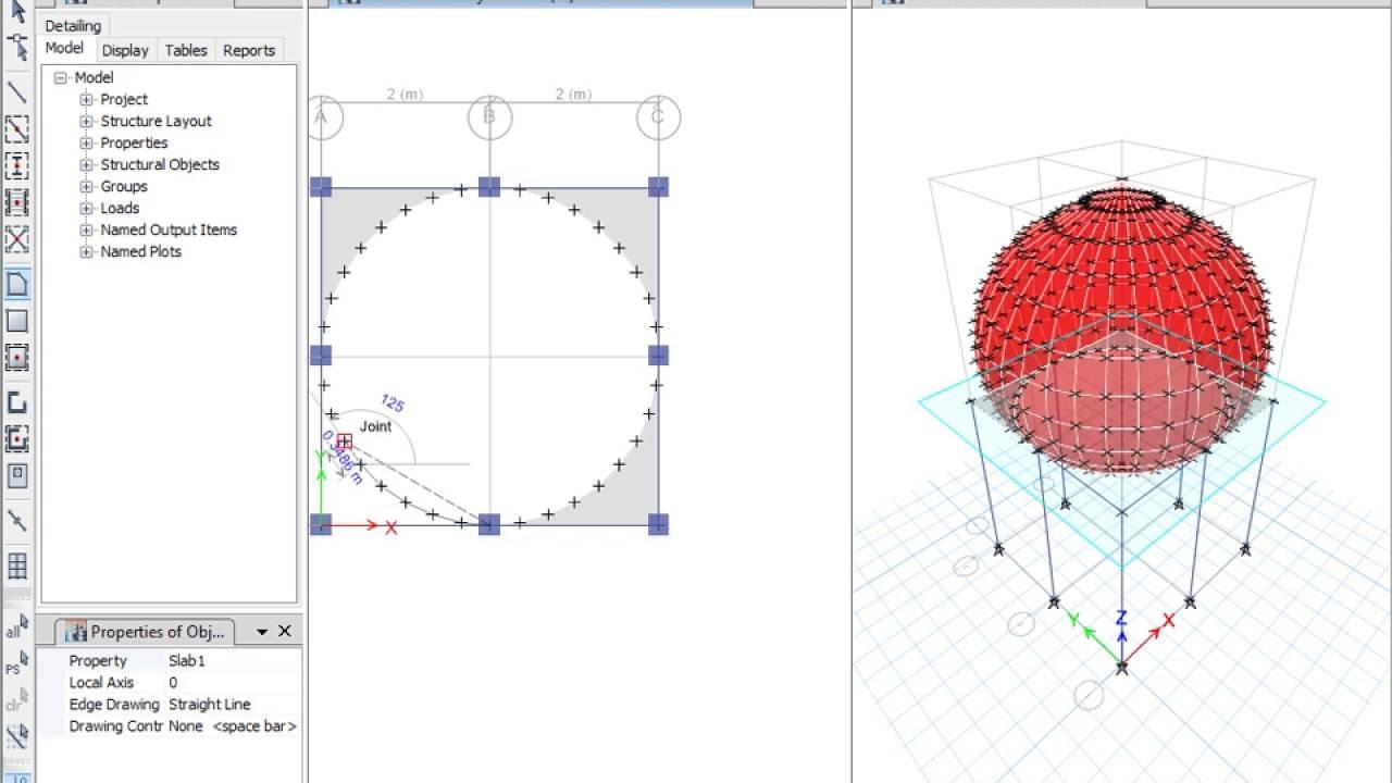 نمذجة القبة (DOME) بالطريقة اليدوية بإستخدام برنامج Etabs