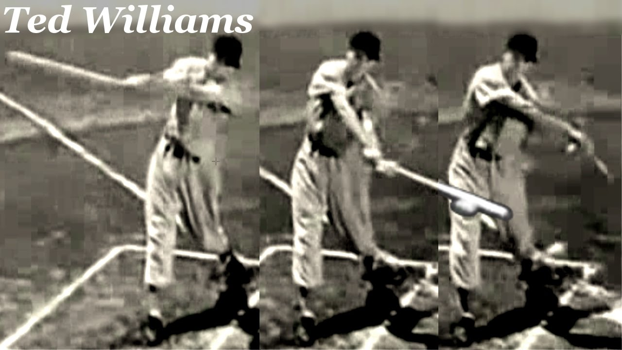 Ted Williams Swing Through The Ball Twisting And Bowing A Hind Leg Batting Mechanics Slow Motion