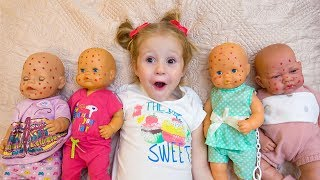 Babies dolls and funny little girl playing together Video for kids