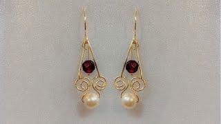 Simple diy earrings/wire wrapped pearl drop earrings/beautiful pearl earrings/jewelry making