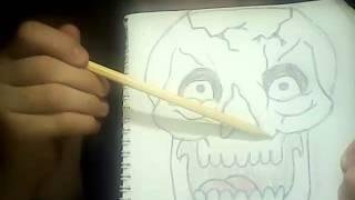Учимся рисовать голову скелета (1 серия)