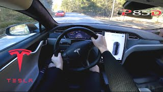2016 Tesla Model S P85D 423hp - POV Country Road TEST Drive