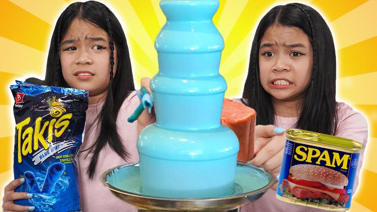 BLUE CHOCOLATE FOUNTAIN FONDUE CHALLENGE   Tran Twins