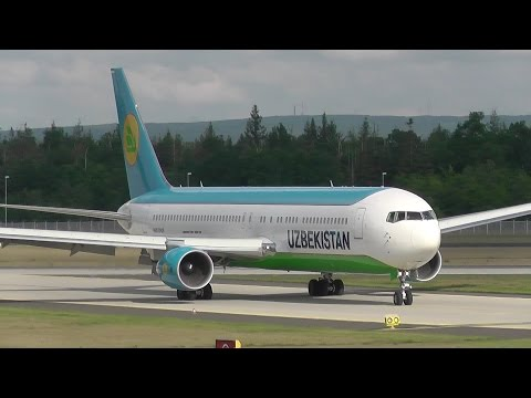 [FullHD] Uzbekistan Airways B767-300ER UK67006 landing and taxi @ Frankfurt Airport