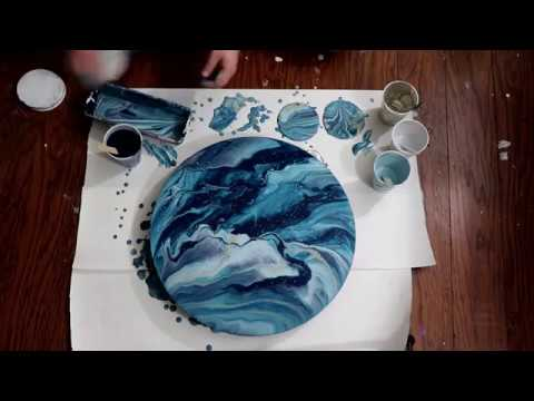 (207) Ocean Waves, Acrylic Dirty Pour on Wood Circle
