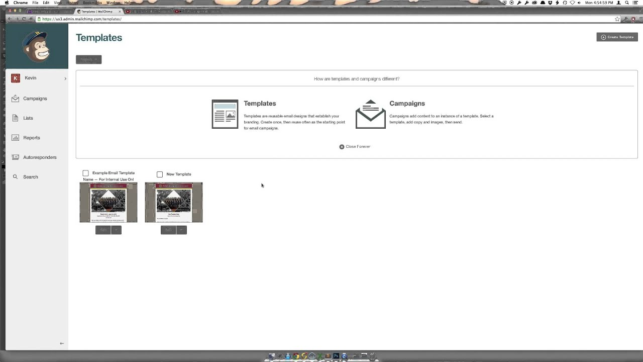 Deleting A Mailchimp Email Template - YouTube