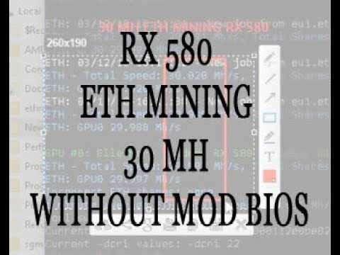 ETH MINING RX 580 hashrate 30 MH without mod bios