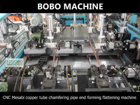 Full automatic CNC Mesabi copper tube chamfering pipe end forming flattening machine