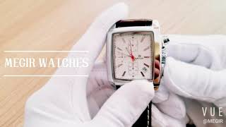 MEGIR men watch 2028 with leather strap and chronograph function
