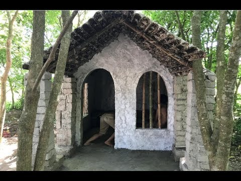 Primitive technology with survival skills Wilderness build house Roman part 11