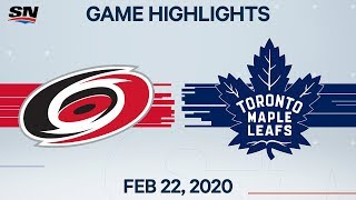 NHL Highlights | Hurricanes vs. Maple Leafs - Feb. 22, 2020