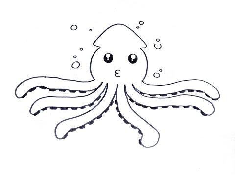 วาดรูป ปลาหมึก สอนวาดรูปการ์ตูนน่ารัก ง่ายๆ How To Draw Octopus Cartoon
