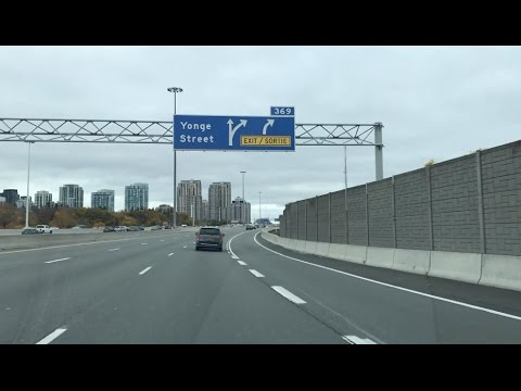 Driving on Highway 401 to Yonge Street in Toronto North York
