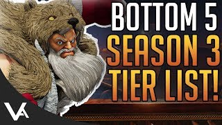 SFV - Bottom 5 Low Tier Characters For Season 3! Who Made The List? Street Fighter 5 Arcade Edition
