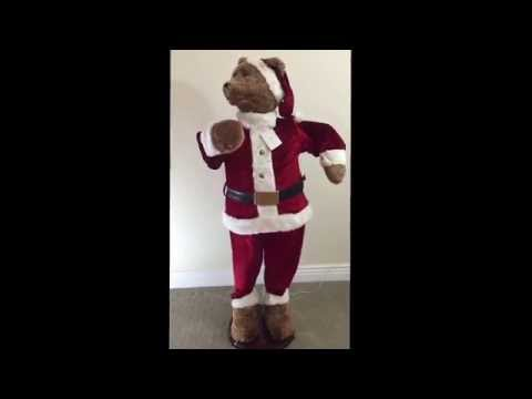 GEMMY 5 FT ANIMATED SINGING & DANCING SANTA CLAUS CHRISTMAS BEAR~KARAOKE