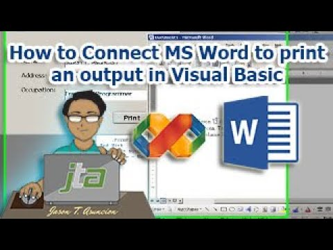 how to connect ms word to print an output in visual basic youtube
