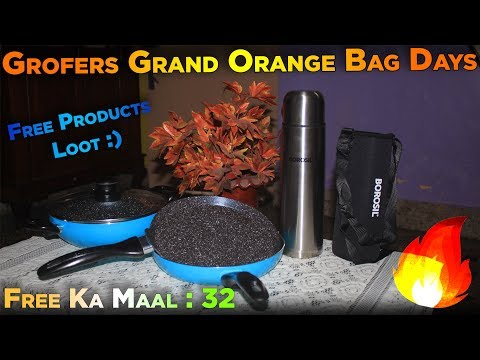 (free)-grofers-grand-orange-bag-days-loot-products-|-unboxing-|-review-|-dekh-review-(hindi/urdu)