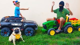 Fun Pretend Play with Police Car Ride On Power Wheel Police Car and Tractor