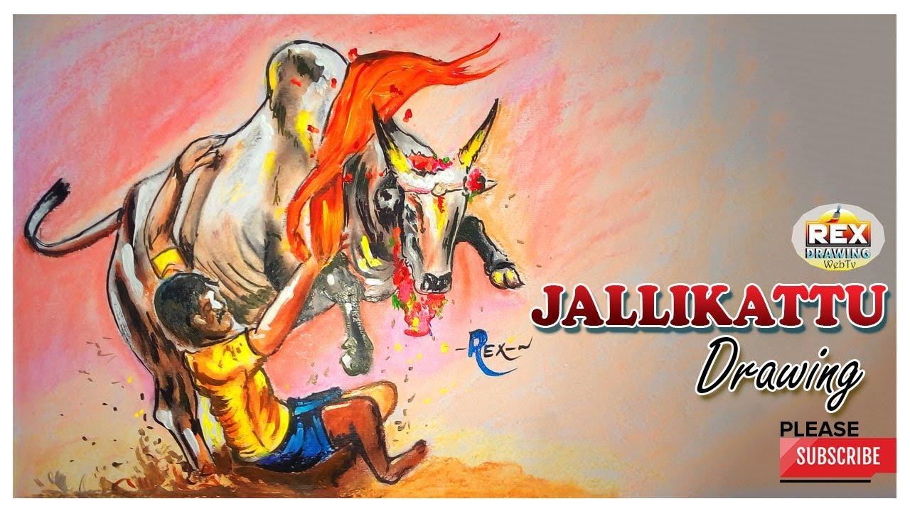 Jallikattu Drawing Tamilnadu Easy And Simple Drawings Rexdrawing