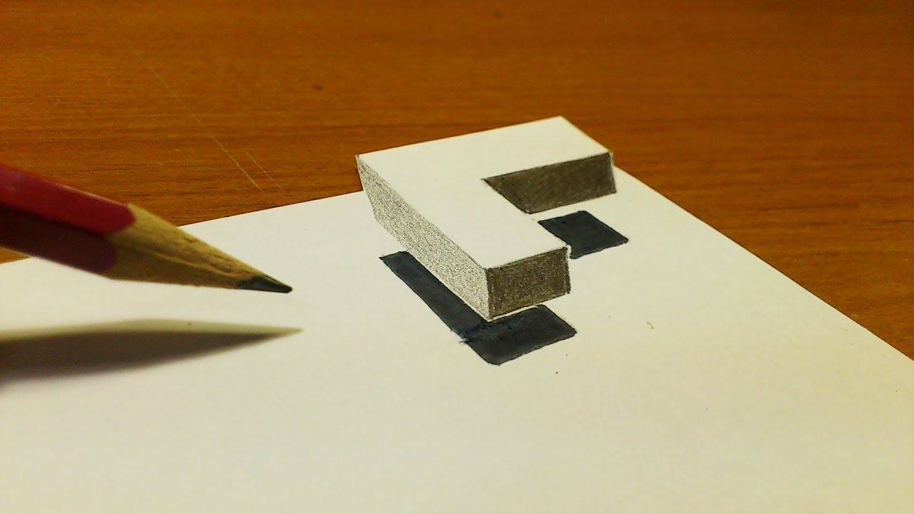 very easy how to draw 3d floating letter l drawing 3d trick art on paper step by step youtube very easy how to draw 3d floating letter l drawing 3d trick art on paper step by step