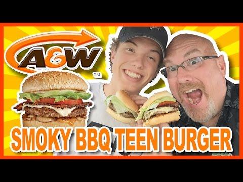 A&W Smoky BBQ Teen Burger Review with Ken & Ben   KBDProductionsTV